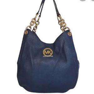 MICHAEL KORS Fulton Chain Leather Navy Hobo Bag